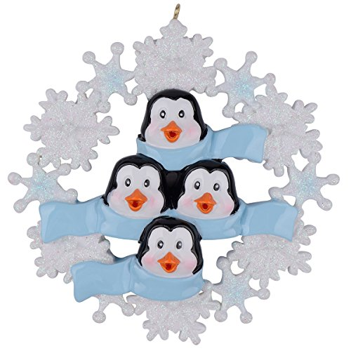 WorldWide Personalized Penguin Family with Snowflake of 4 Ornament ()