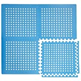 eyepower puzzle mat for poolside pool shower perforated surface allow water to drain 1cm THICK soft anti slip waterproof EVA 1.59qm expandable Blue
