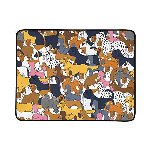 Cute Seamless Pattern with Cartoon Dogs Pattern Portable and Foldable Blanket Mat 60x78 Inch Handy Mat for Camping Picnic Beach Indoor Outdoor Travel