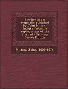 Amazon.com: Paradise lost as originally published by John Milton