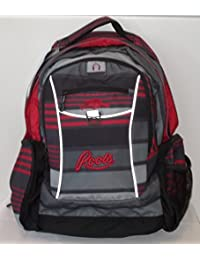 ROOTS 73 School Backpack 18 in. with Tablet Section with Zippered Cable Pocket [Gray/Red Stripes]