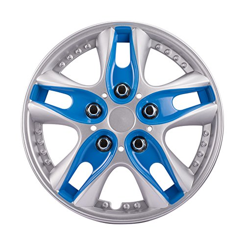 14 Inch BLUE ABS Plastic Hubcaps Premium Double Coated Car Vehicle Wheel Rim Skin Cover (Pack of 4)