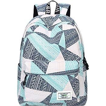 Backpack for Teens, Fashion Geometric Pattern Laptop Backpack College Bags  Women Shoulder Bag Daypack Bookbags Travel Bag by Mygreen  (Blue Green Orange) 6b5dcb34e0