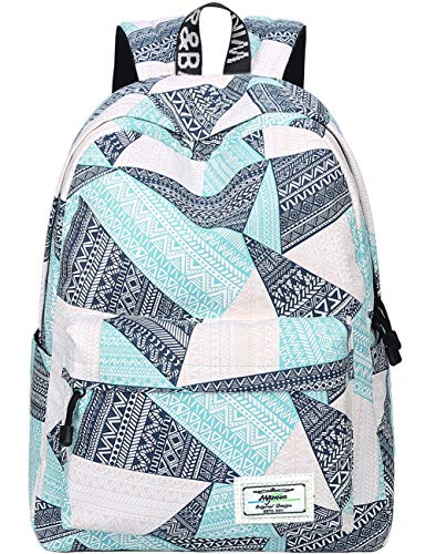 Backpack for Teens, Fashion Geometric Pattern Laptop Backpack College Bags Women Shoulder Bag Daypack Bookbags Travel Bag by Mygreen (Blue&Green&Orange)