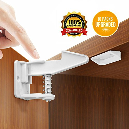 Child Safety Cabinet Locks, 10 Pack, Invisible Design, No Tools or Drilling Needed, Keep The Original Beauty of Furniture (White)