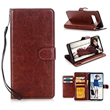 Galaxy Note 8 Case, NOKEA [Flip Fit] [Anti-Scratches] [Kickstand Feature] Luxury Premium PU Leather Wallet CASE with ID &Credit Card-Slots for Samsung Galaxy Note 8 (Brown)