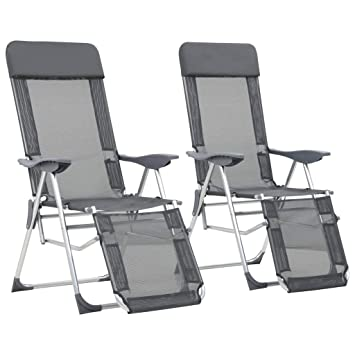 De Repose Gris 2x Camping Vidaxl Aluminium Chaise Pied Pliable 54R3LAj