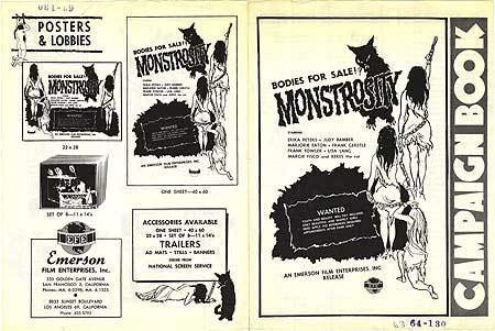 Monstrosity - Authentic Original 9x12 Movie Pressbook