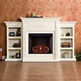 Dublin Ivory Electric Fireplace Classic Brick Style Interior and Optional Down Light Illumination For Sale