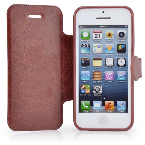 Saxonia Flip Tasche für Apple iPhone 5C Schutzhülle Case mit Magnetverschluss Braun