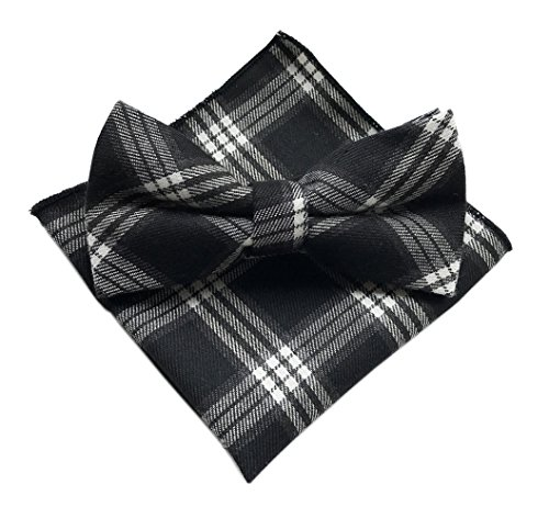 (Elfeves Men's Black White Plaid Cravat Bowties Handkerchief Set Woven Neckties)