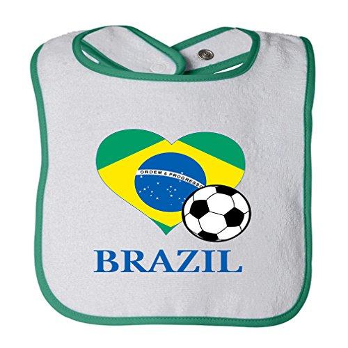 Brazilian Soccer Brazil Futbol Football Cotton Terry Unisex Baby Terry Bib Contrast Trim - White Green, One Size