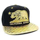 LAFSQ Embroidered California Republic Gold Foil Flat Bill Snapback Cap (Bear-Black/Gold)