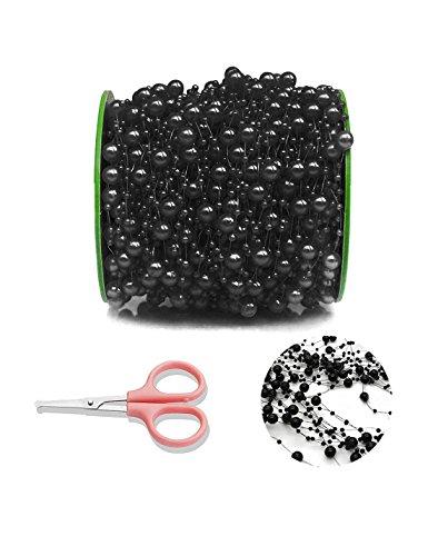 DomeStar Black Pearl Garland, 200 Feet Pearl Strands Bead Garland Pearl Beaded Trim, Decorative Pearls on String (Festooning Tissue Art)