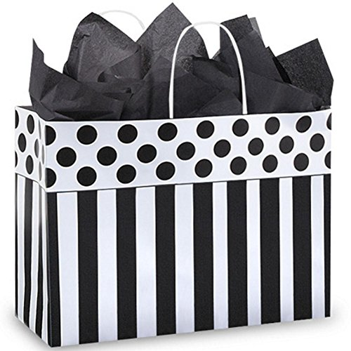 Domino Alley Paper Shopping Bags - Vogue Size - 16 x 6 x 12in. - Pack of 100 by NW