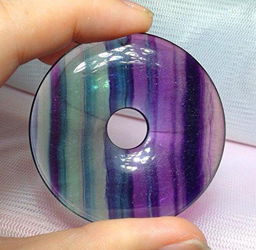 - 1.6'' Beautiful Gemstone Donut Pendant Bead 1Pcs,DIY Jewelry Accessories For Necklace 40mm (Flourite)