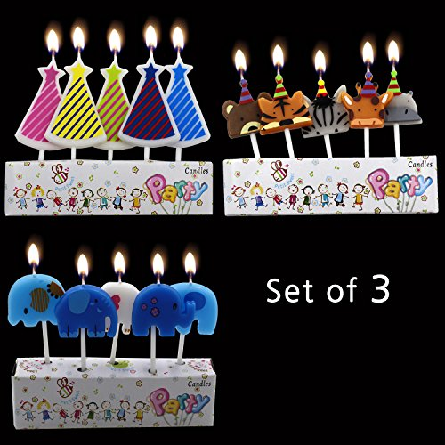 Birthday Cake Candles Pack CupCake of Animal,elephant,Conical shape Cute Cake Topper Counting Amazing for kids for adults Singing Decoration set ()