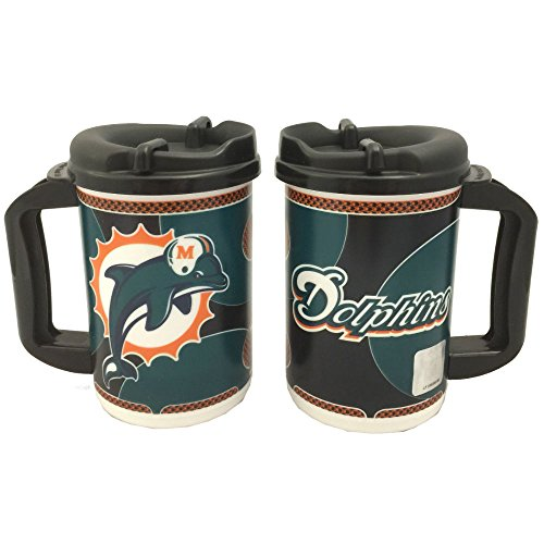 NFL Travel Mugs 20 oz 2 Pack (Miami Dolphins)