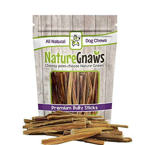 Nature Gnaws Extra Thin Bully Sticks 5-6 (25 Pack) - 100% All-Natural Grass-Fed Free-Range Premium Beef Dog Chews