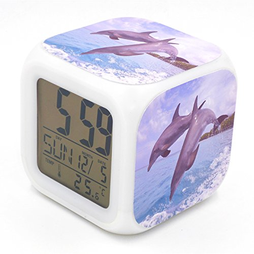 BoFy Led Alarm Clock Dolphin Swim Pattern Personality Creative Noiseless Multi-functional Electronic Desk Table Digital Alarm Clock for Unisex Adults Kids Toy Gift - Dolphin Alarm Clock