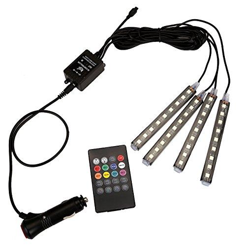 GraceMe DC 12V Car Interior Mood 8 Color Led String Lights Remote Bluetooth Sound Control 4-Strap (Remote Sound Control)