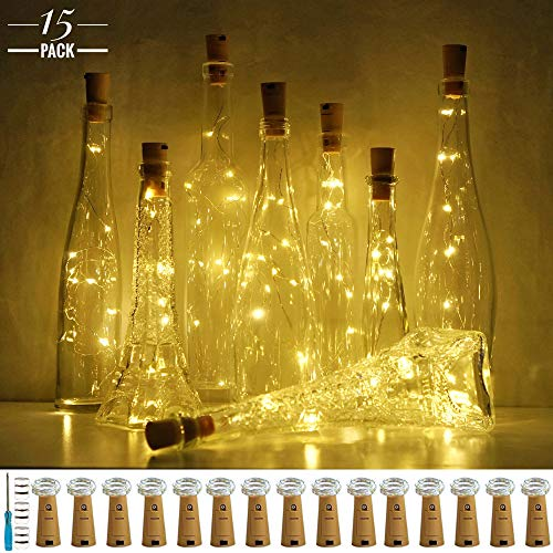 LoveNite Wine Bottle Lights with Cork, 15 Pack Battery Operated 10 LED Cork Shape Silver Wire Colorful Fairy Mini String Lights for DIY, Party, Christmas, Wedding Decor (Warm White) ()