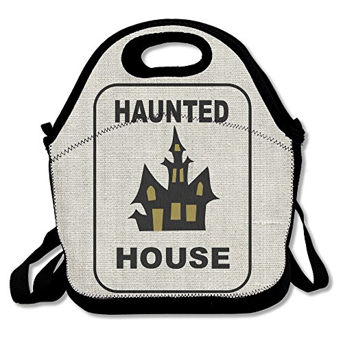 Haunted House T-shirt Design Great For Halloween Insulated Lunch Box Food Bag Neoprene Gourmet Handbag Lunchbox Cooler Warm Pouch Tote Bag For School Work