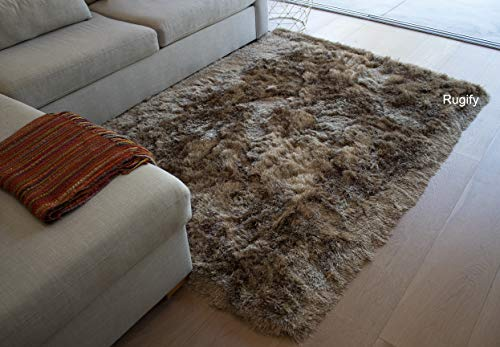 Dark Beige Tan Champagne Golden Brown Neutral Colorful 5 x 7 Large Solid Soft Fluffy Furry Fuzzy Plush High Pile Shaggy Shag Hand Woven Rug Carpet Sale Living Room Bedroom - Glorious Champagne