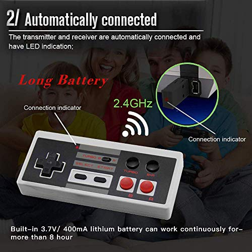 2 Pack Rechargeable NES Classic Mini Wireless Controller -TURBO/HOME EDITION-Rapid Buttons Edition for Nes Wii Gaming System with 2.4G Wireless Receiver(2020 Upgraded)