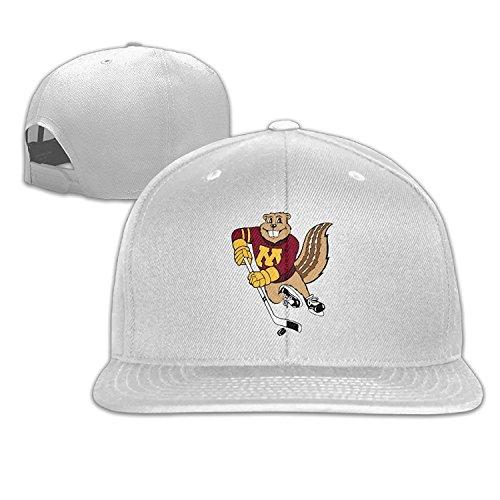 Minnesota Golden Gophers Hiphop Baseball Cap Hat Snapback Adjustable One Size Unisex White (Gopher Hockey Hat)