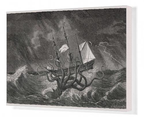 Canvas Print of Kraken attacking ship during a storm