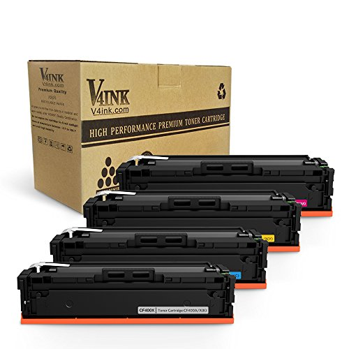 (V4INK 4 Pack Compatible HP CF400X CF400A HP 201X HP 201A Toner Cartridge for use with HP Color LaserJet Pro M252dw M252n MFP M277dw M277n Printer)
