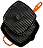 Le Creuset Cast Iron Panini Press and Signature Square Skillet Grill Set, 10 1/4'', Flame