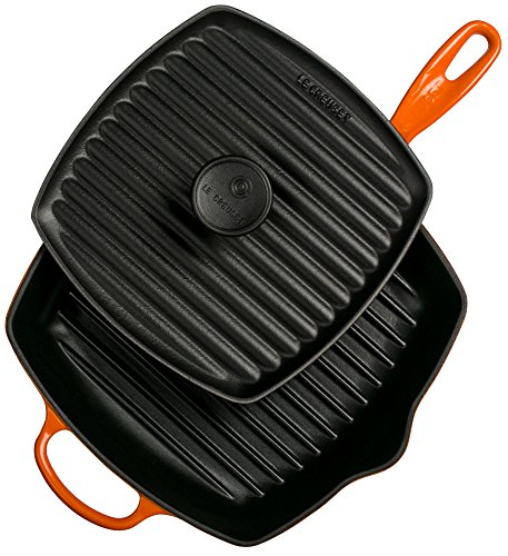 Le Creuset Cast Iron Panini Press and Signature Square Skillet Grill Set, 10 1/4 inch, Flame