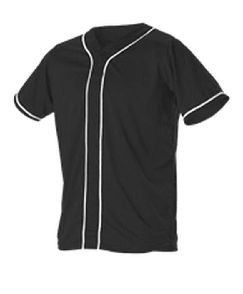Alleson Athletic SHIRT ボーイズ B0755YDMVP Large ブラック、ホワイト ブラック、ホワイト Large