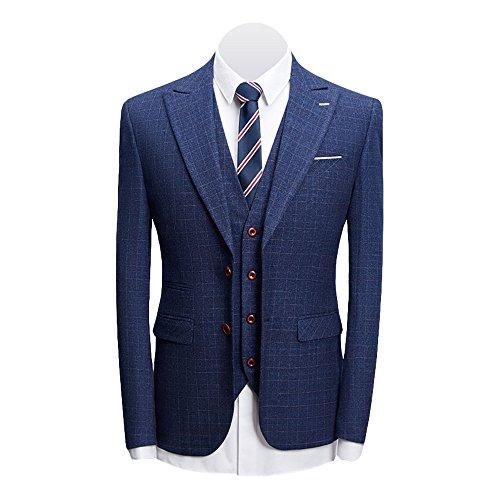 MAGE MALE Men's 3-Piece Suit Fine Lattice Pattern Business Suit Slim Single-Breasted Jacket Vest Pants Suit by MAGE MALE (Image #2)