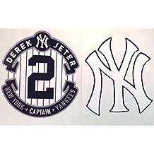 "Derek Jeter Mini FATHEAD Captain Logo + New York Yankees NY Logo Official MLB Vinyl Wall Graphics 4""x4"" INCH EACH"