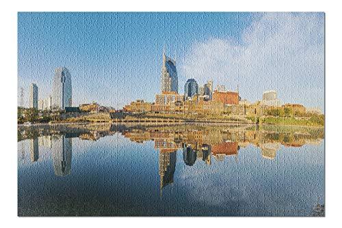 Framed Tn Nashville (Nashville, Tennessee - City Skyline - Photography A-92407 (20x30 Premium 1000 Piece Jigsaw Puzzle, Made in USA!))