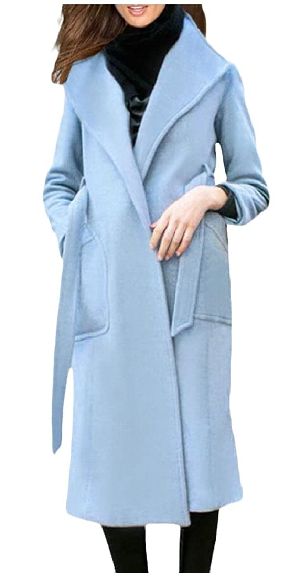 1 ouxiuli Womens Wool Winter Trench Coat Outwear Belts