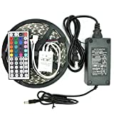 KLAREN 5m 16.4ft RGB Color Changing SMD 5050 Led Strip Lighting Kit, 300leds SMD 5050 Waterproof Flexible Led Strip Lights Kit, with 44keys Remote & 12v 5a 60w Power Adapter US BEST SELLER