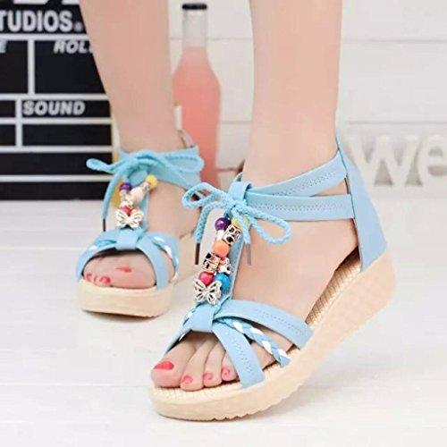 AMA(TM) Women Girls Sweet Sandals Flat Indoor Outdoor Beach Shoes Blue gvbvVWS84c