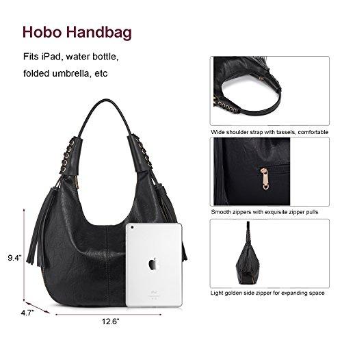 Buy black leather hobo