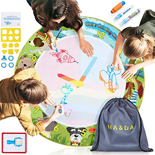 Fold Da Mat - Ha&Da Round Magic Doodle Mat - Educational Aqua Painting /Water Drawing Mat for Kids and Toddlers in Backpack w/ Magic Pens, Brush, Stamps, Roller, Stencils, Design Booklet - Diam. 39 Inches
