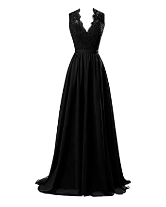 Lafee Bridal V-Neck Lace Prom Formal Dresses Long Chiffon Evening Party Gowns Black Size