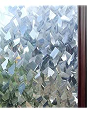 Rabbitgoo Window Film Static Cling Window Privacy Film Privacy Glass Films 3D Crystal Icicles Effect Window Sticker Non-Adhesive Heat Control Anti UV Light Blocking for Home Kitchen Office