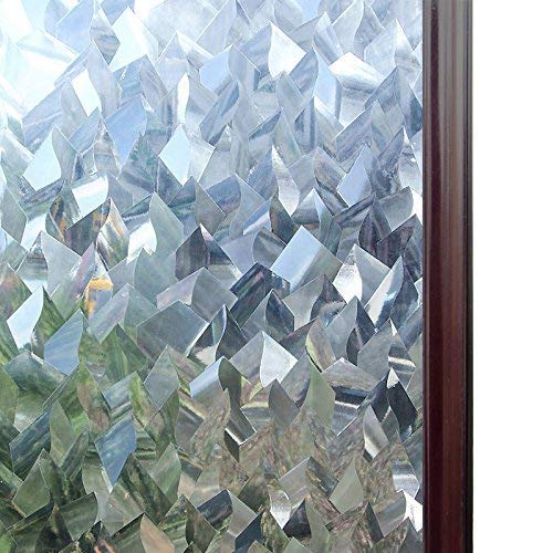Rabbitgoo Privacy Window Films 3D Crystal Icicles Effect No Glue Static Cling Glass Window Films Bathroom Front Doors Window Covering Film 17.5