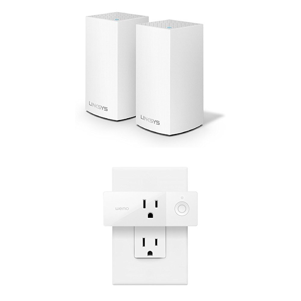 Velop Whole Home WiFi Intelligent Mesh System, 2-Pack + Wemo Mini Smart Plug Bundle by