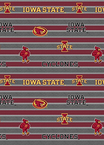 IOWA STATE COTTON FABRIC-IOWA STATE CYCLONES POLO STRIPE-NEWEST DESIGN-SOLD BY THE ()