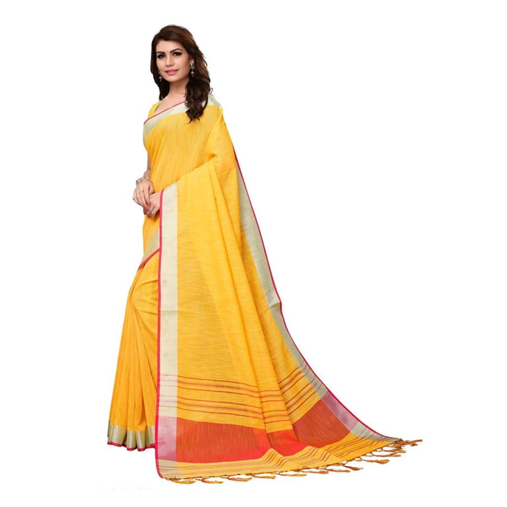 6c2dbb4198c RR Creation Party wear Classic Linen Saree with Blouse Piece - Solid Yellow   Amazon.in  Clothing   Accessories