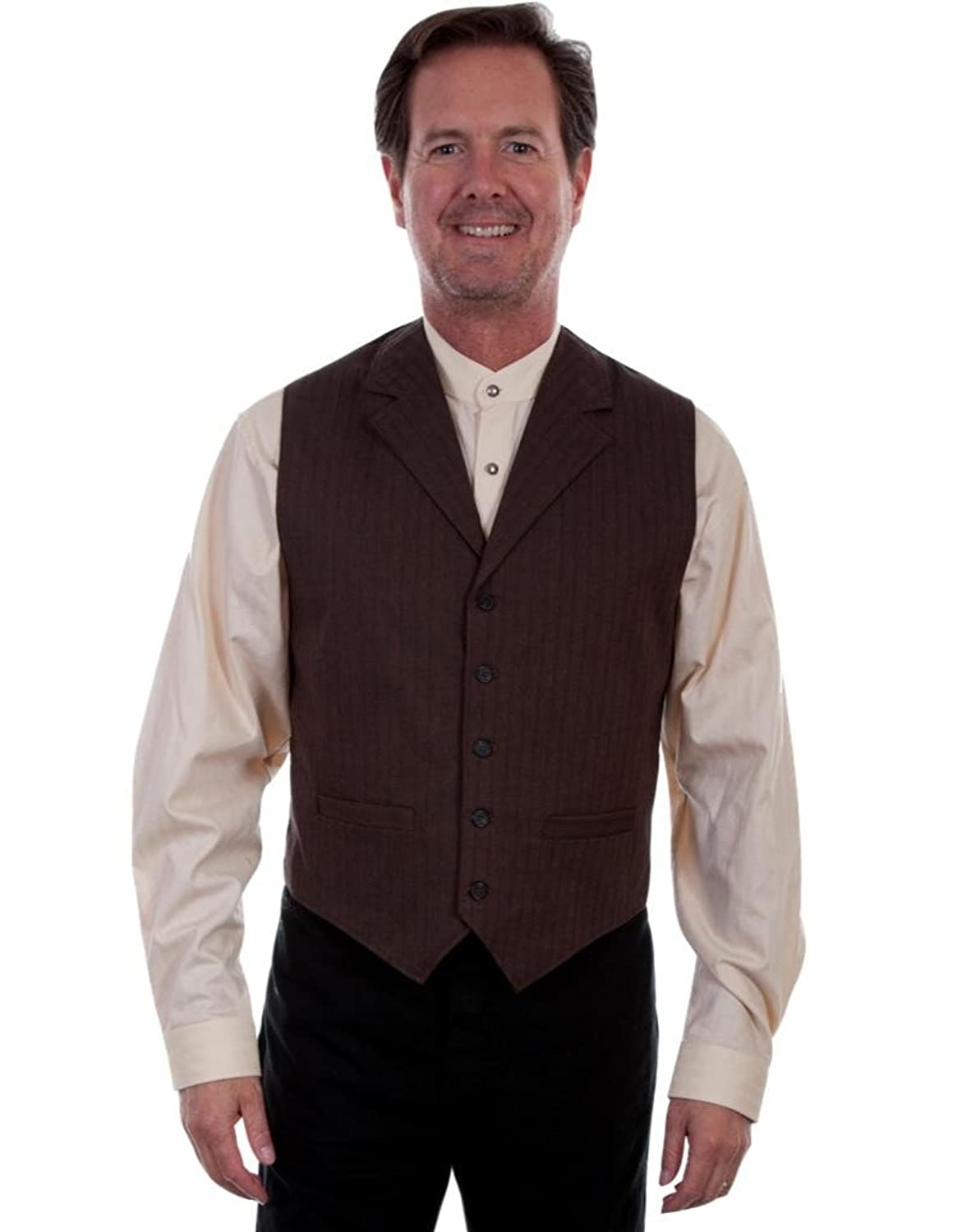 Men's Steampunk Vests, Waistcoats, Corsets Scully Western Vest Mens Notched Lapel Pinstripe Button Lined 541194 $81.00 AT vintagedancer.com